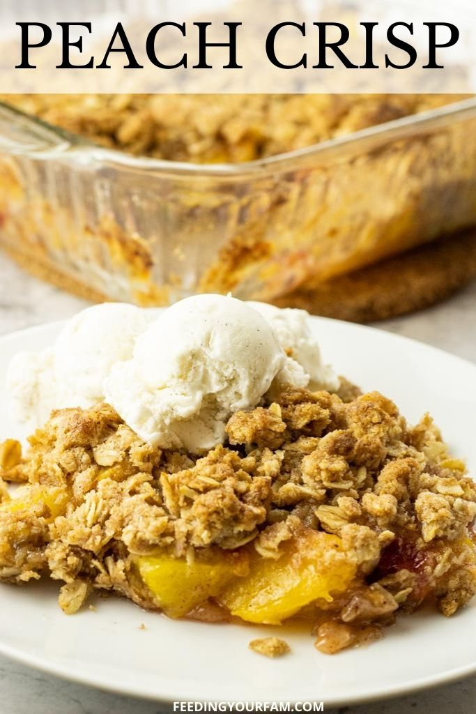 peaches topped with granola topping on a white plate