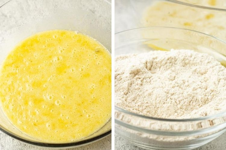side by side image of banana bread liquids mixed and dry ingredients in bowls
