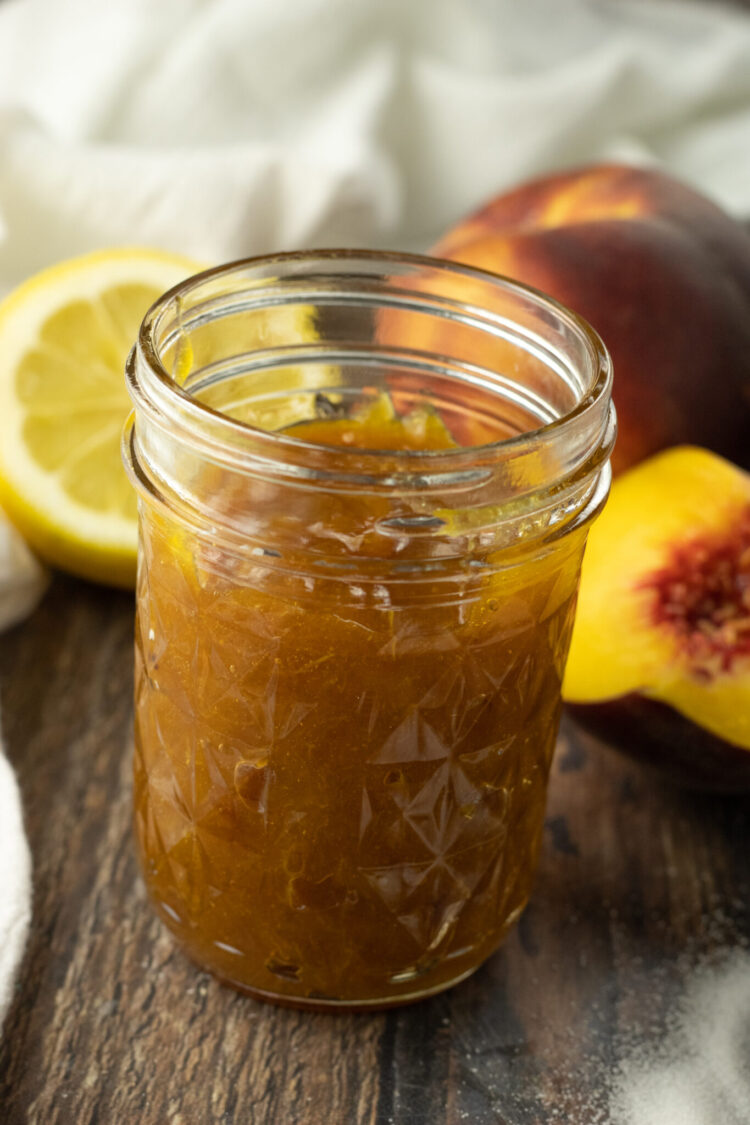 small jar of peach jam
