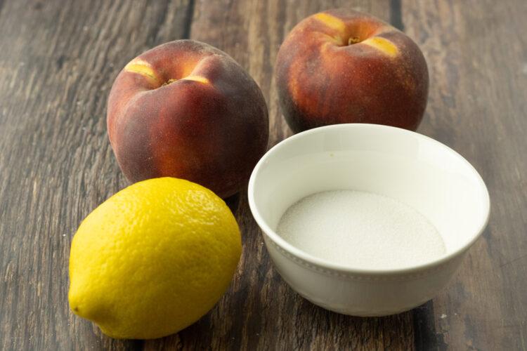 bowl of sugar, lemon and peaches