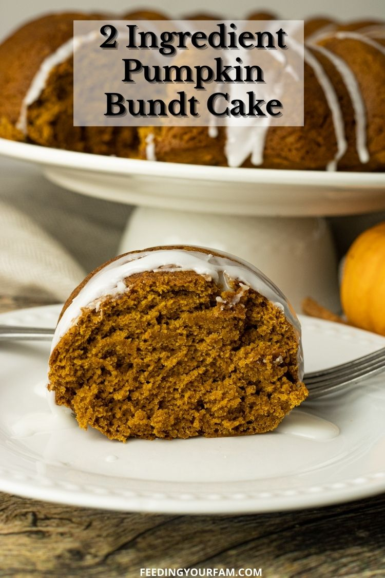 This delicious Pumpkin Bundt Cake is made with just 2 ingredients, spice cake mix and pumpkin puree. Pumpkin Spice Bundt Cake is a simple dessert that is moist, tastes amazing and perfect for a simple weeknight dessert or family Holiday parties.#pumpkinrecipe #pumpkinrecipes #holidaybaking