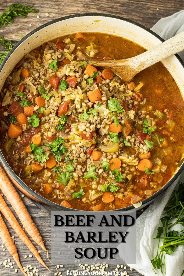 Beef and Barely Soup is a classic, comfort soup recipe made with ground beef, vegetables and simple spices. This Beef and Barley Soup recipe is a classic that has been in the Fam for generations.