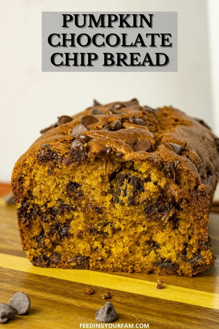 Pumpkin Bread with Chocolate Chips. This might just be the best recipe I have found for pumpkin chocolate chip bread! Just like you would find in a bakery, but you can make it at home! #pumpkinbread #chocolatechip #pumpkinchocolatechipbread