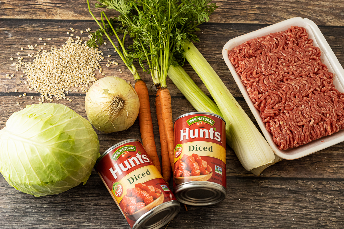 Ingredients for beef and barley soup recipe. Onion, cabbage, carrots, celery, canned tomatoes and ground beef