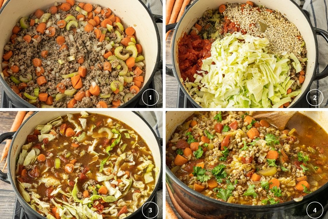 collage of steps to make barley soup with beef