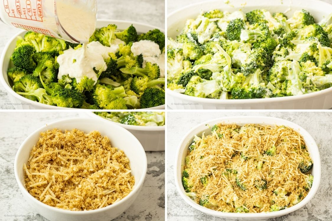 collage of steps to make broccoli casserole