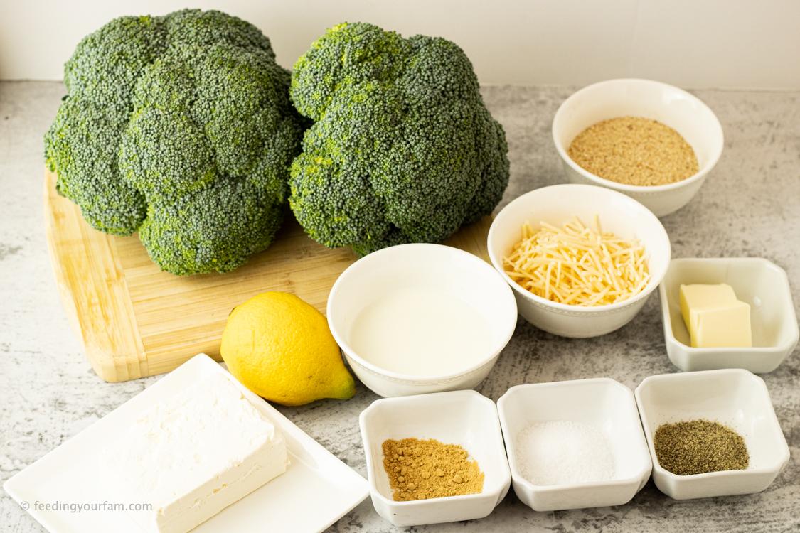 ingredients for broccoli casserole, broccoli, milk, cream cheese, bread crumbs, milk and lemon