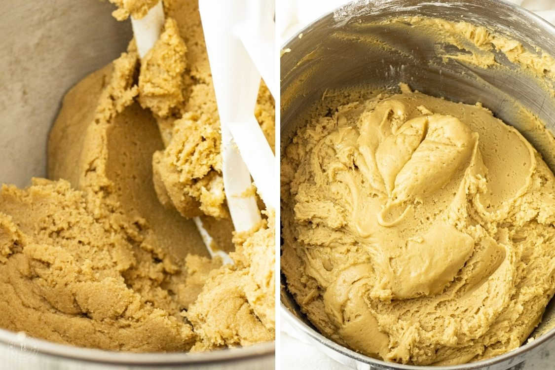 split image of mixing cookie dough and mixed cookie dough in a mixing bowl