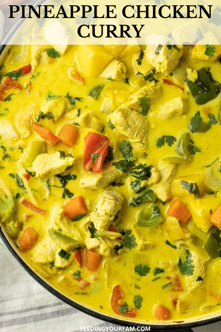 pineapple chicken curry in a big pan