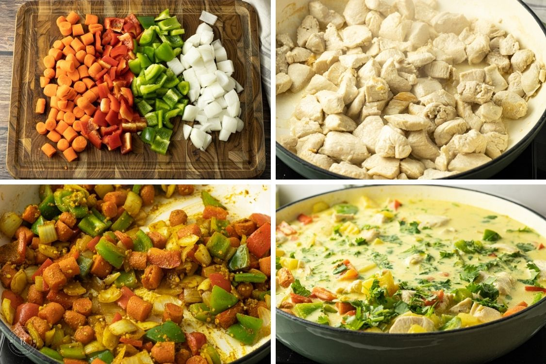 picture collage of steps to make curry