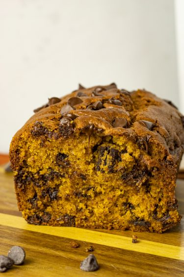 pumpkin chocolate chip bread sliced in half
