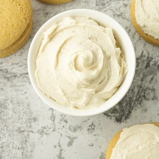 small bowl of white buttercream frosting