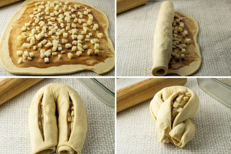 collage of spreading apples on dough, rolling dough, folding and twisting dough