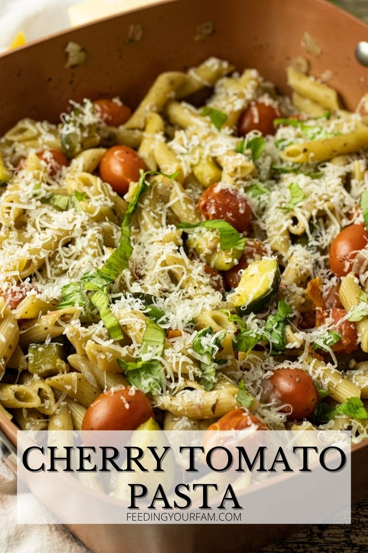 pan of pasta with cherry tomatoes