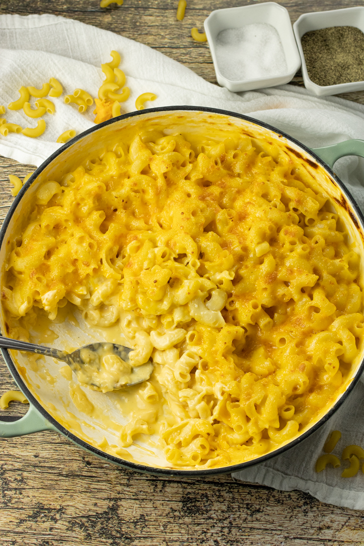 cheesy pasta with a scoop out