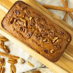 pumpkin bread on a wooden cutting board