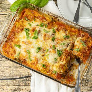 big pan of lasagna made with ravioli