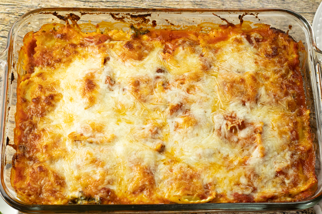 baking dish of baked ravioli lasagna