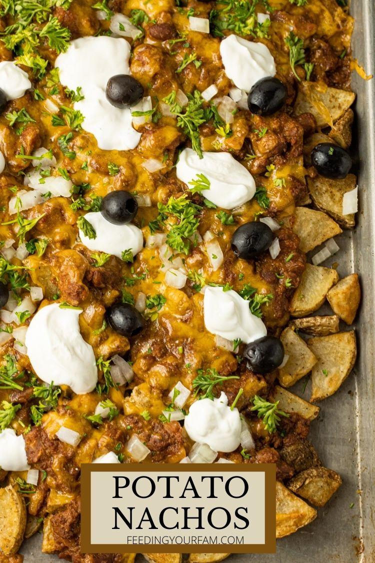 big sheet pan of nachos made from potatoes