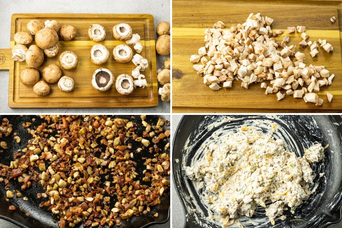 collage of steps to make filling for mushrooms