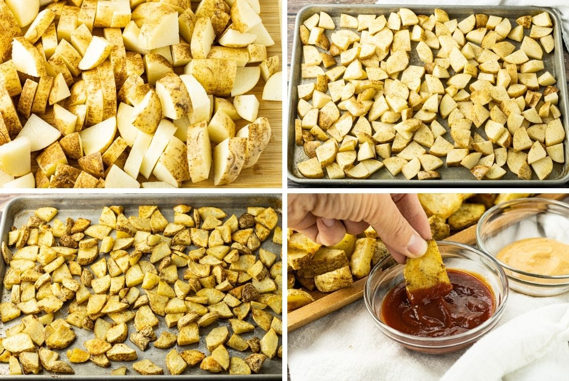 collage of steps to make sliced baked potato pieces