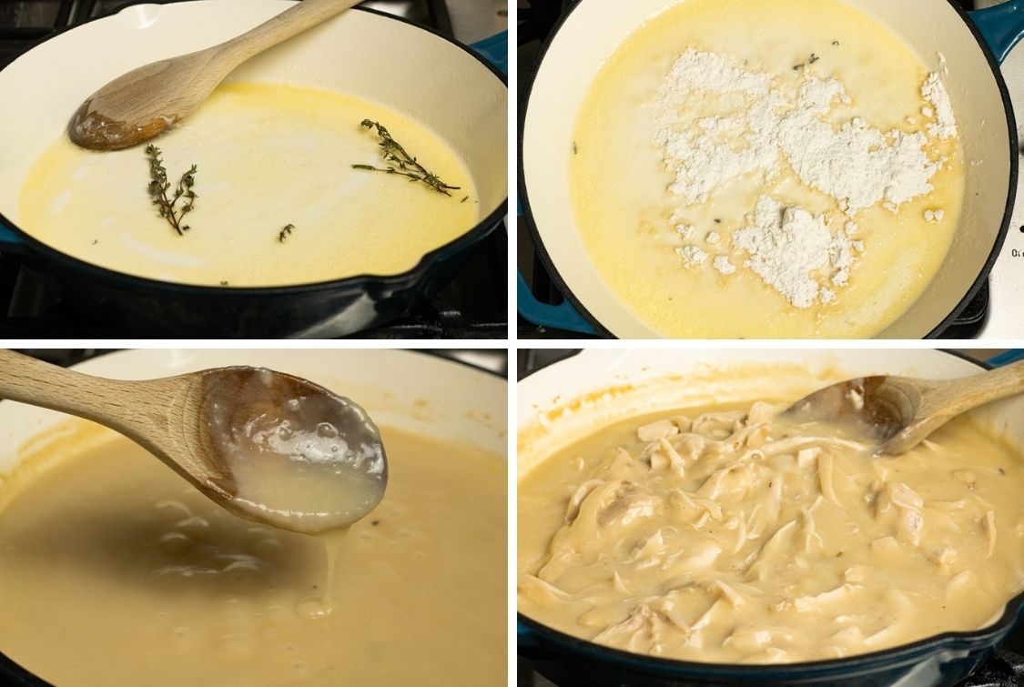 collage of steps to make chicken gravy