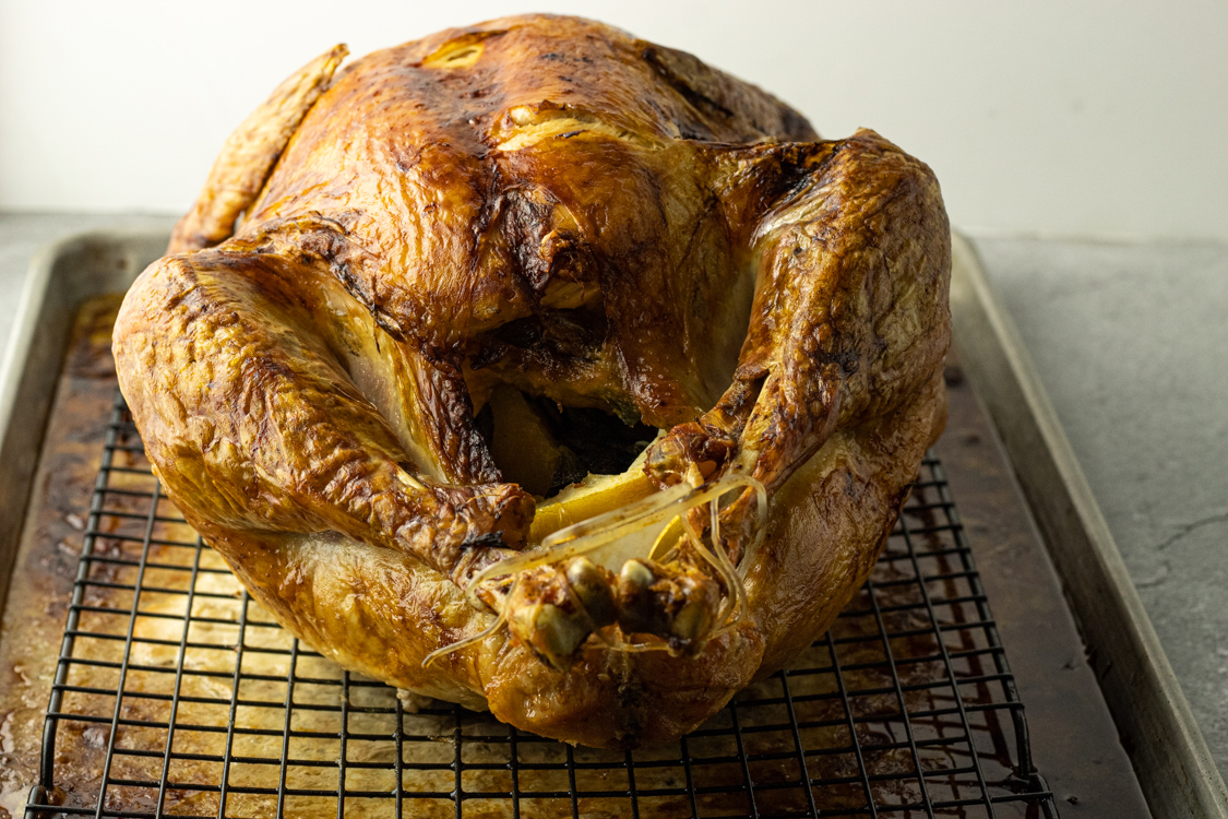 cooked turkey, image taken from neck side