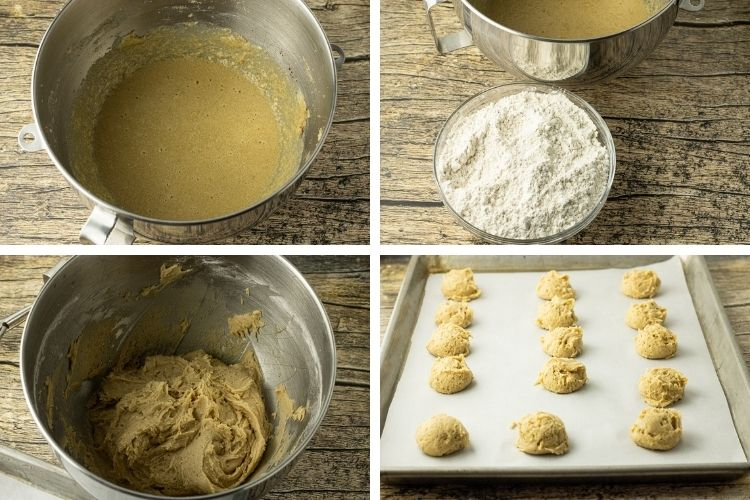 collage of steps to cook eggnog cookies