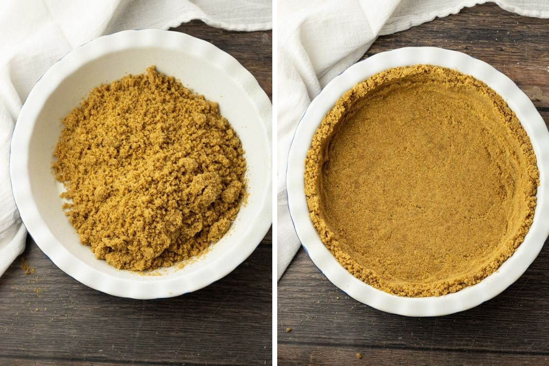 collage of making graham cracker crust