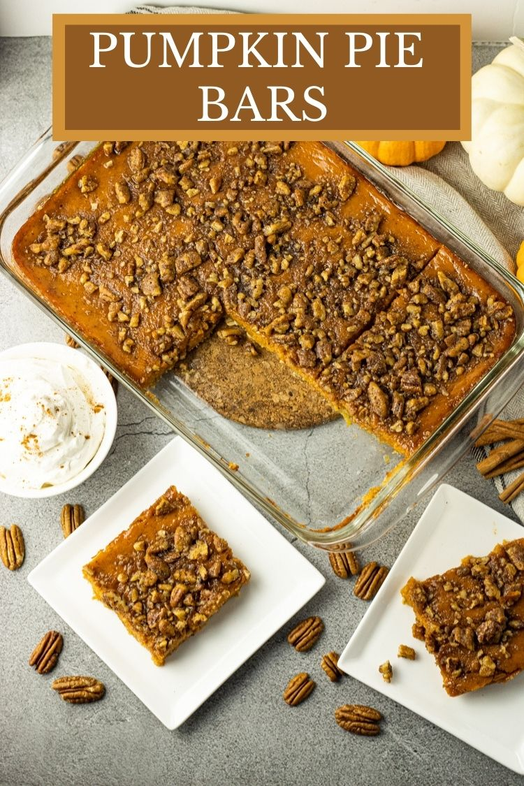 Pumpkin Pie Bars are a great way to enjoy the delicious flavors of pumpkin pie in a much easier and even tastier way. This Pumpkin Pie Bars Recipe has a delicious, crunchy oatmeal, shortbread crust that has so much more flavor and texture than your average pie crust. #pumpkinpie #pumpkin #pumpkinrecipes #thanksgiving #thanksgivingrecipes