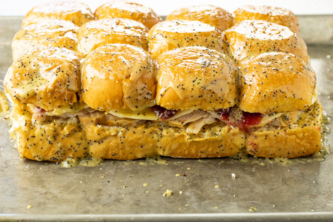 layered turkey and cranberry sliders