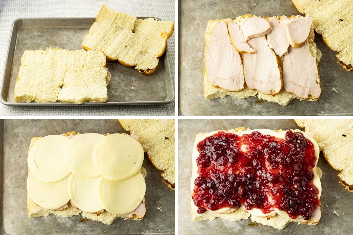 steps to make sliders, slice rolls in half, add turkey, add cheese, add cranberries