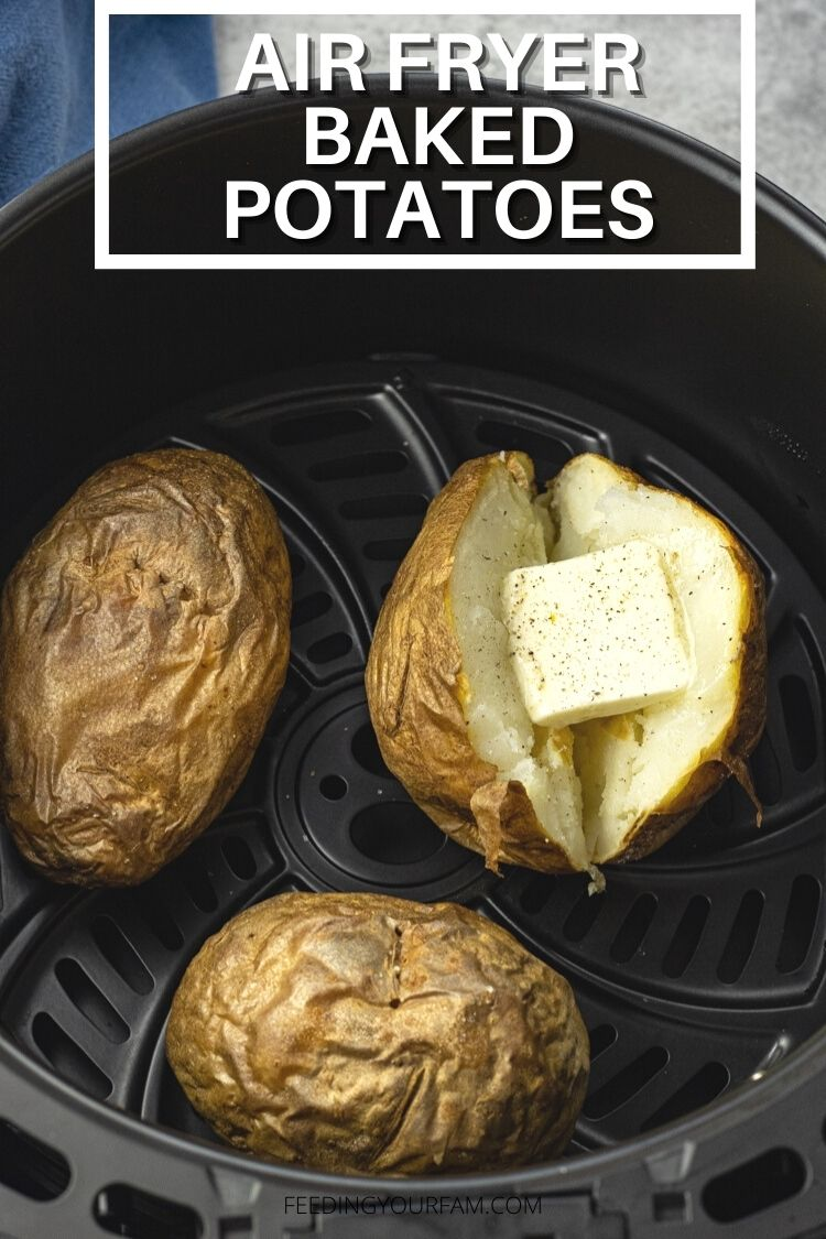 Air Fried Baked Potatoes are simple to make and come out with crispy skin and a perfectly fluffy flesh.