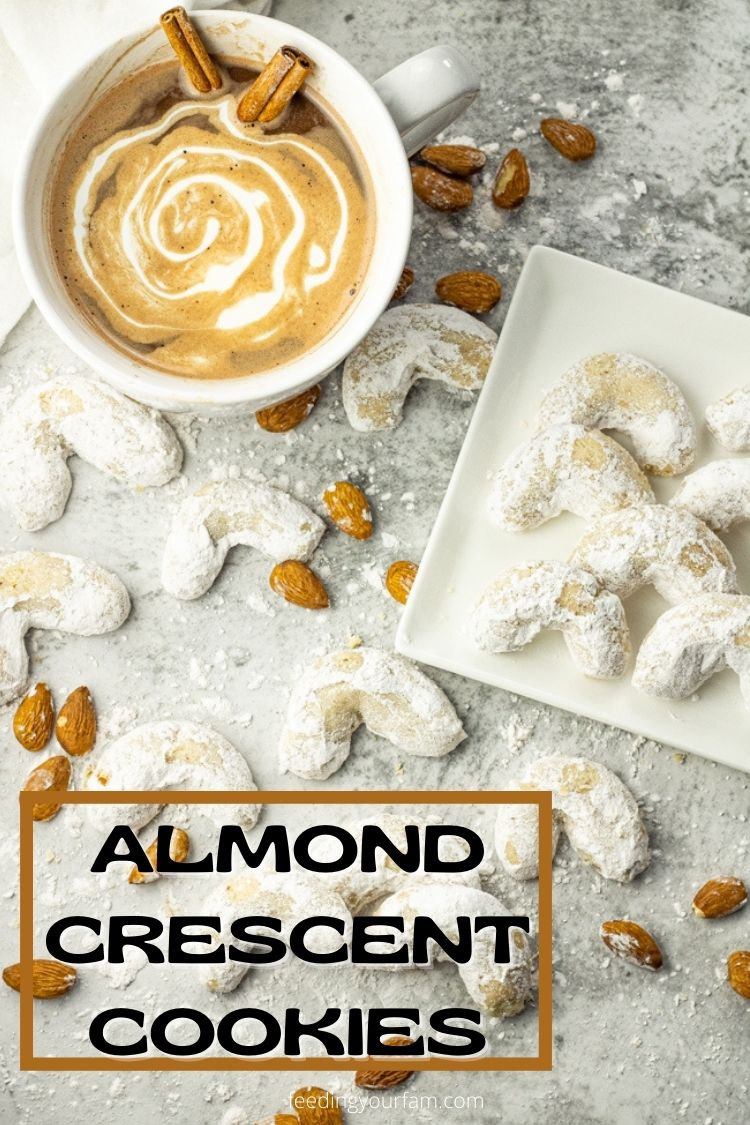 Almond Crescent Cookies are buttery, crunchy, almond cookies coated in powdered sugar. #almondcookies #almondcrescentcookies