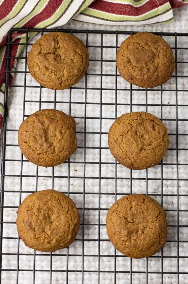 ginger cookies on a cooling rack