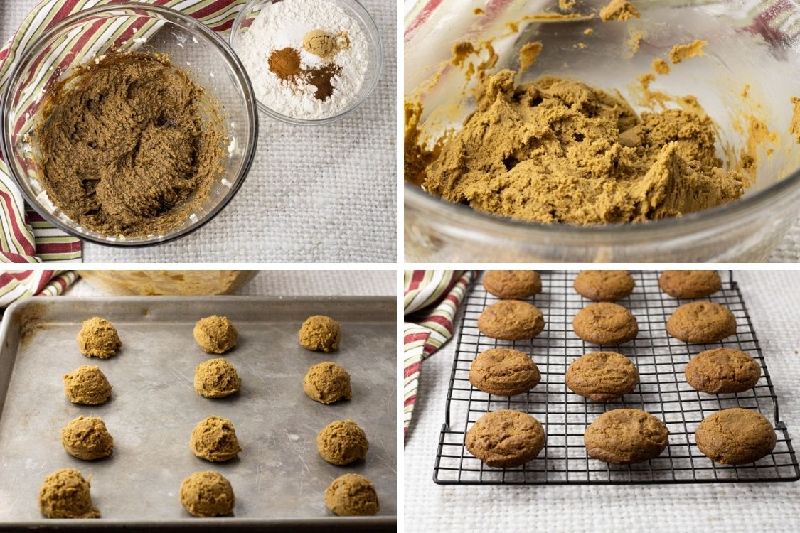 collage of images showing steps to making ginger cookies