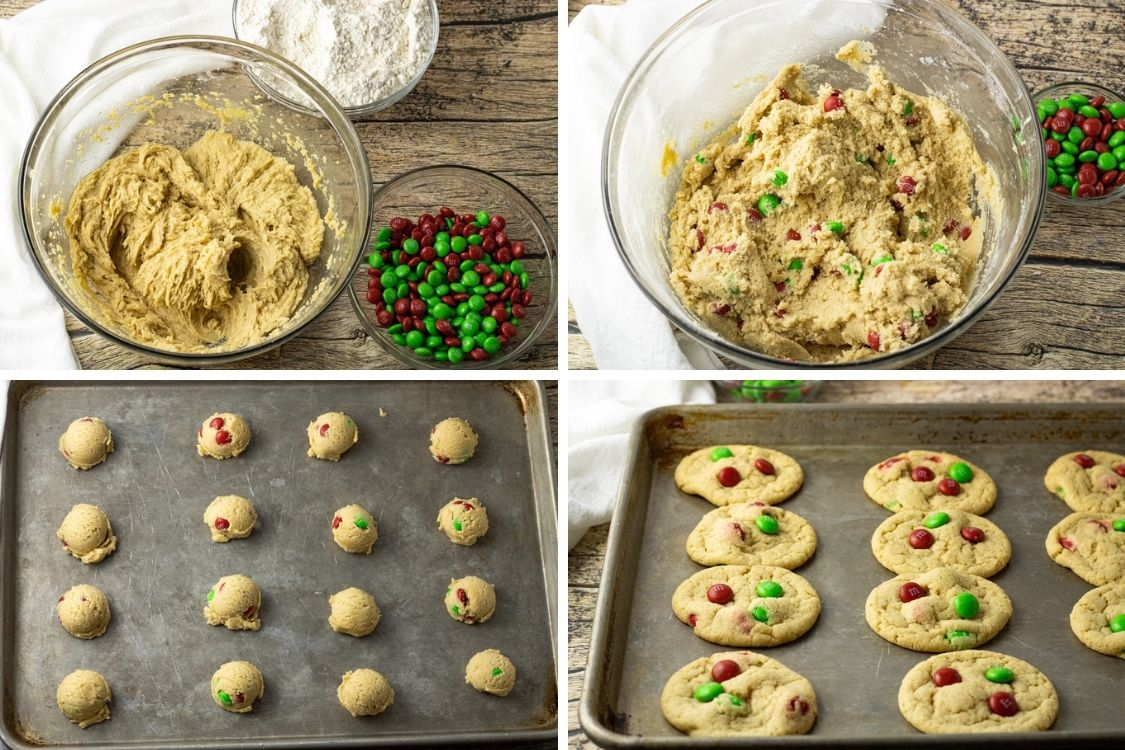 collage of steps to cook M & M cookies