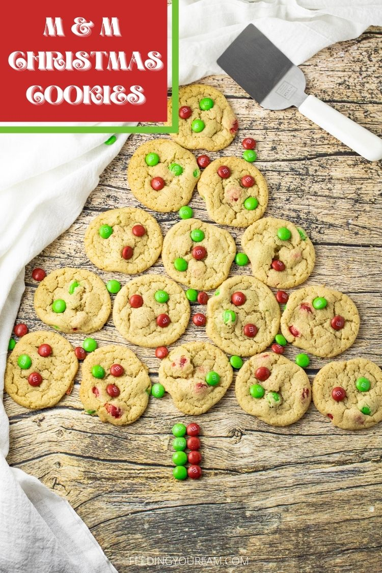 M & M Christmas Cookies have a soft cookie loaded with crunchy, chocolate candies. Perfect for all the holiday parties and cookie exchanges.