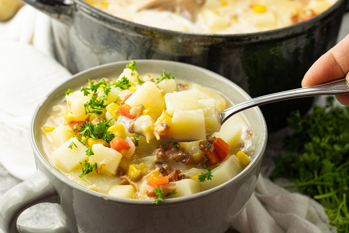 spoonful of potato corn soup