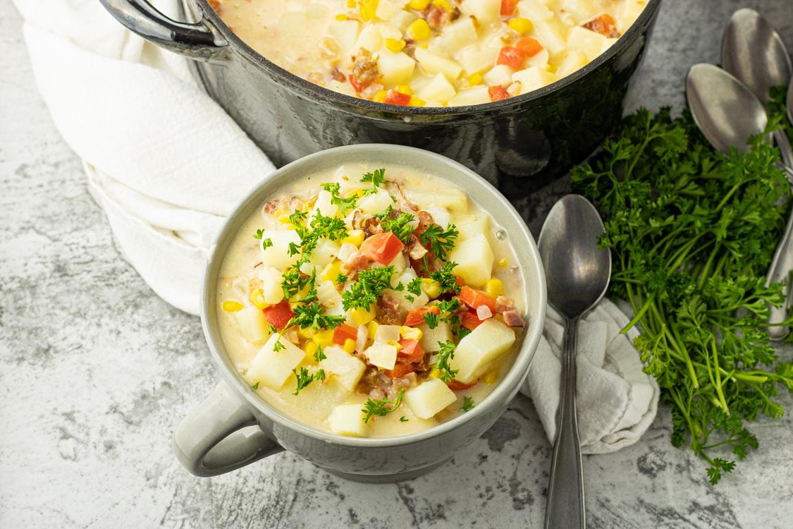 bowl of bacon corn potato chowder