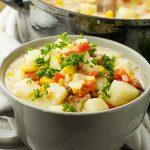 gray bowl of potato soup