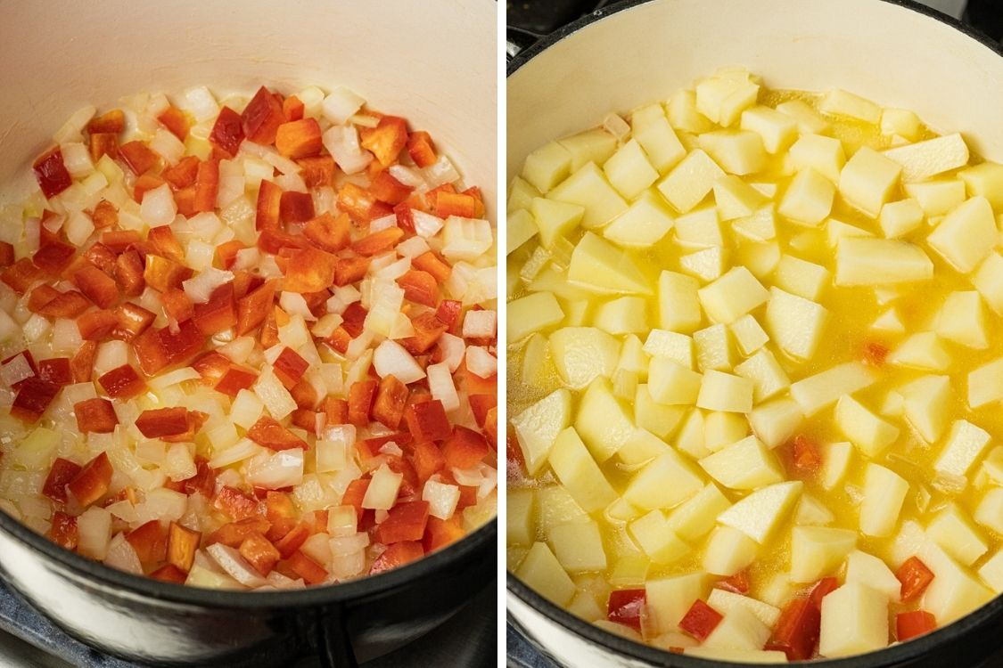 peppers and onions in a pan alongside potatoes covered in water