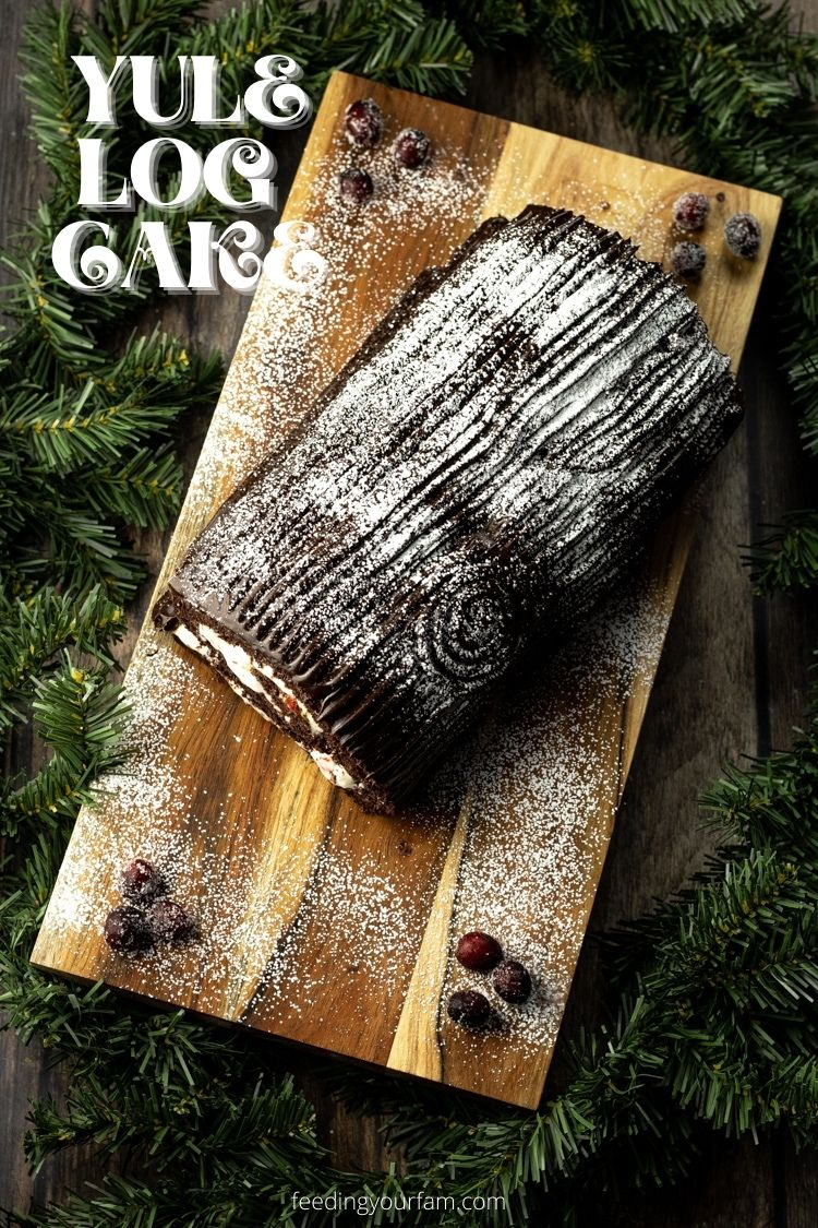 Yule Log Cake is a chocolate rolled cake layered with peppermint frosting and rich chocolate ganache frosting. Perfect for serving a crowd!