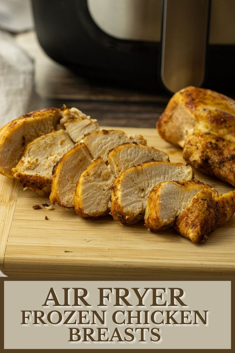 Air Fryer Frozen Chicken Breasts are tender and juicy, so easy to make and come out perfect every time. #chicken #airfryerrecipes #airfryer #airfryerchickenrecipes
