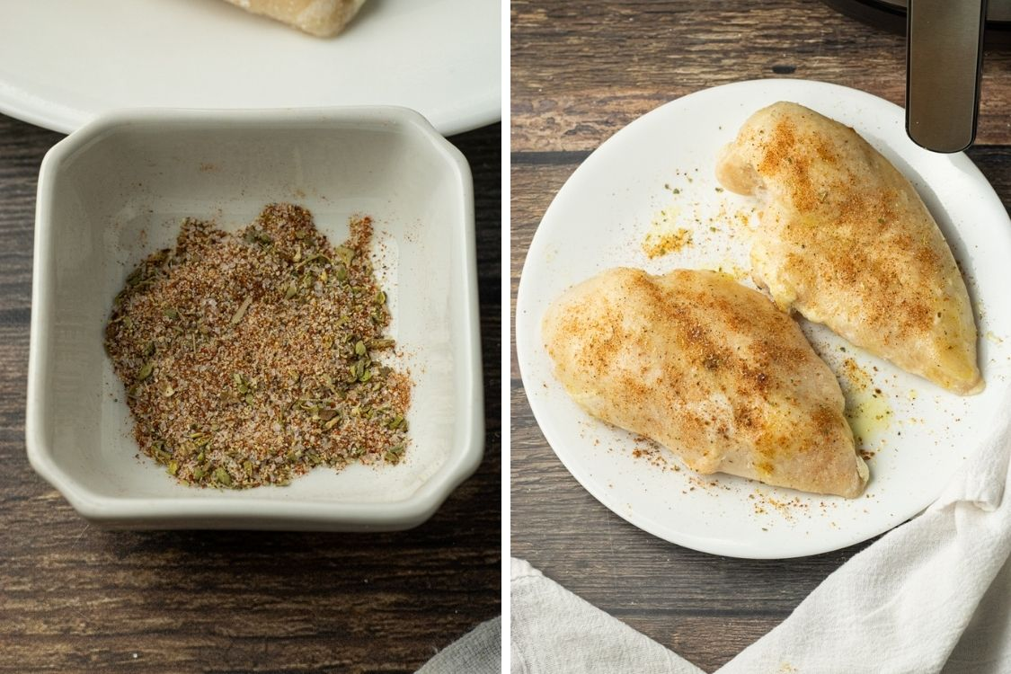 two images, one of mixed spices, the other of frozen chicken seasoned with the spices
