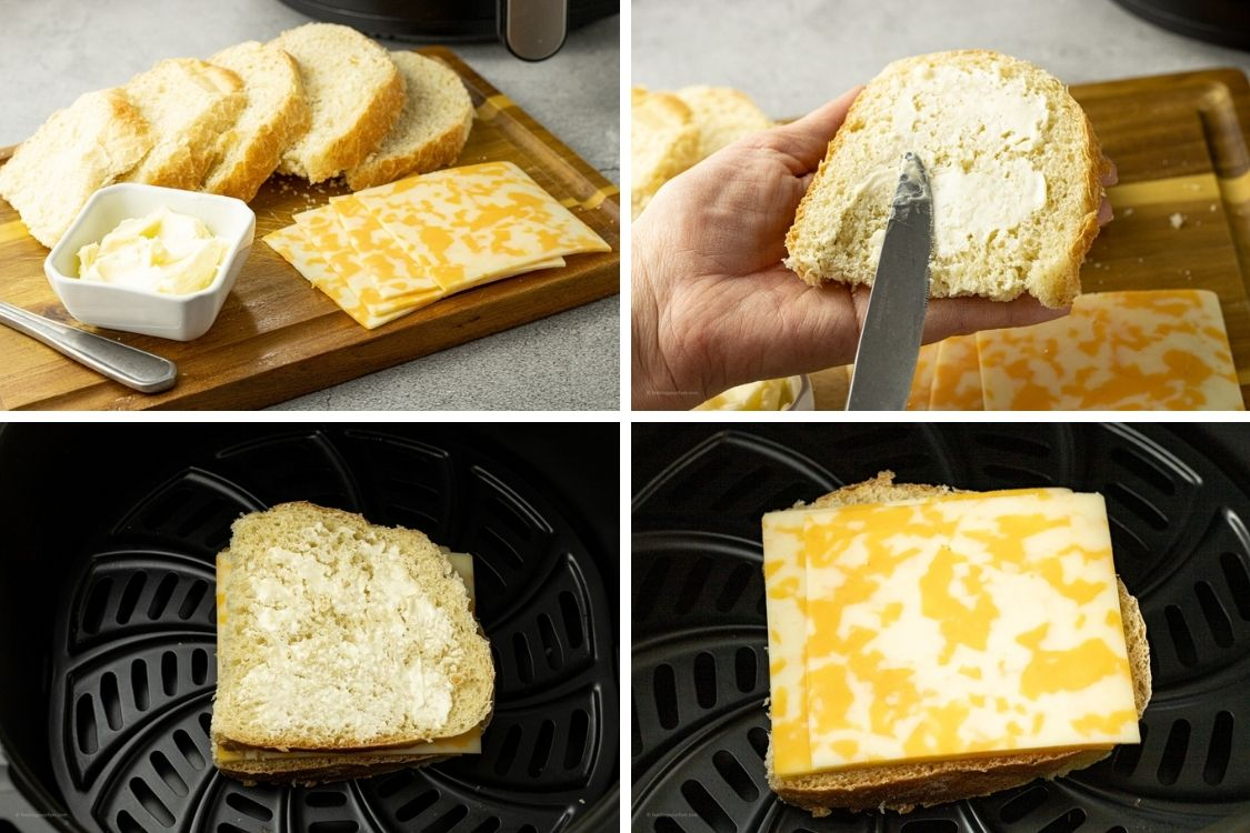 collage of steps to making a grilled cheese in an air fryer
