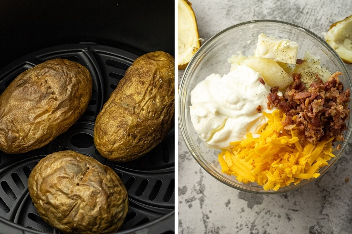 side by side video of air fryer baked potatoes and ingredients for twice baked potatoes