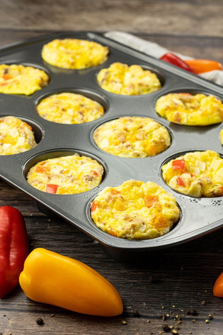 scrambled egg muffins in a muffin pan