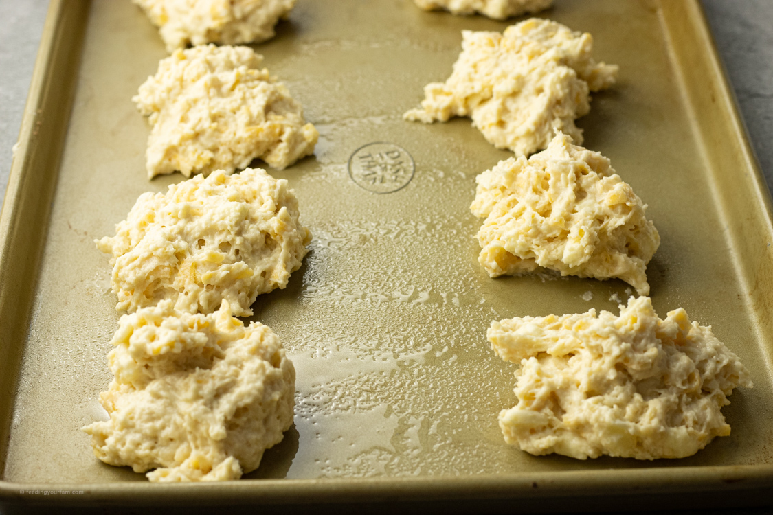 drop biscuit dough on a baking sheet