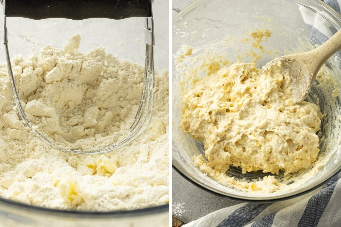 split image of mixing butter with flour and biscuit dough